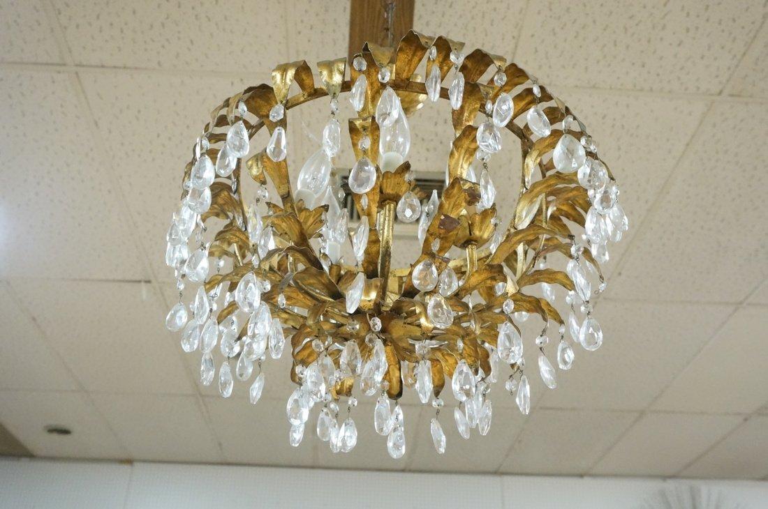 Vintage gilt metal & crystal prism hanging chande - 7