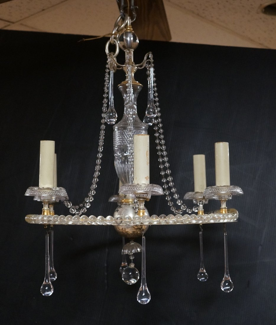 Round Hanging Chandelier with six arms. Cut glass