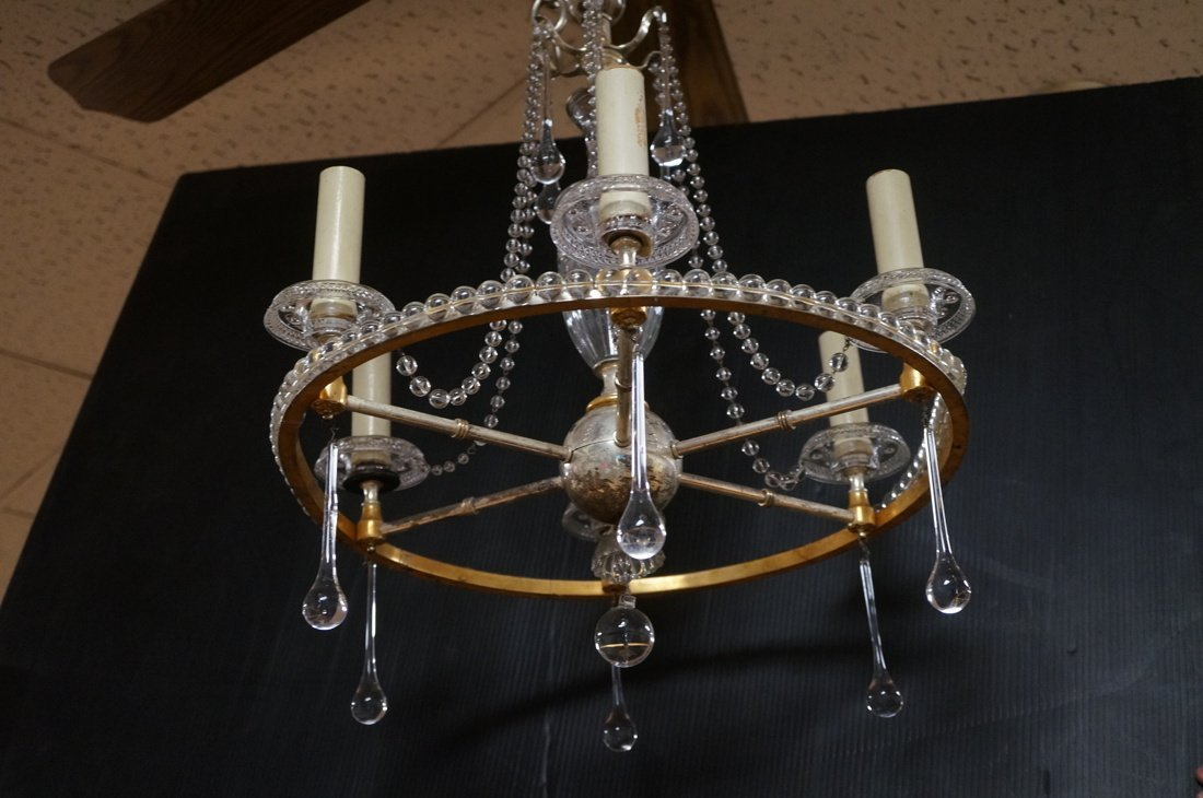 Round Hanging Chandelier with six arms. Cut glass - 2