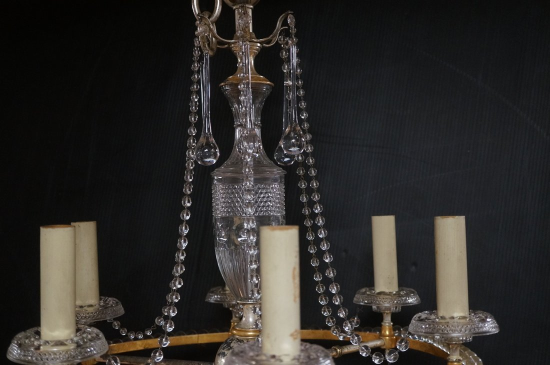 Round Hanging Chandelier with six arms. Cut glass - 3
