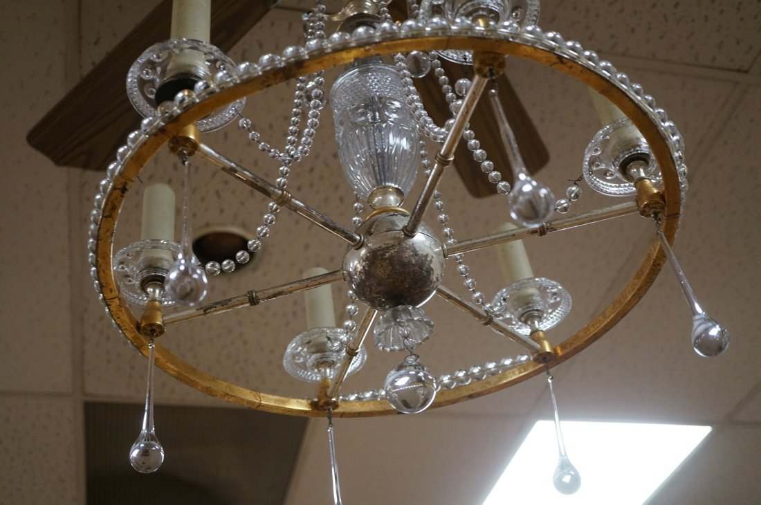 Round Hanging Chandelier with six arms. Cut glass - 5