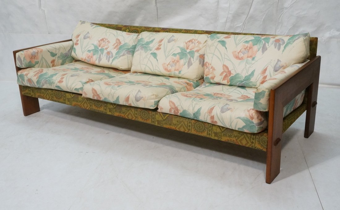 Tobia Scarpa Style Wide wood arm Sofa Couch. Back