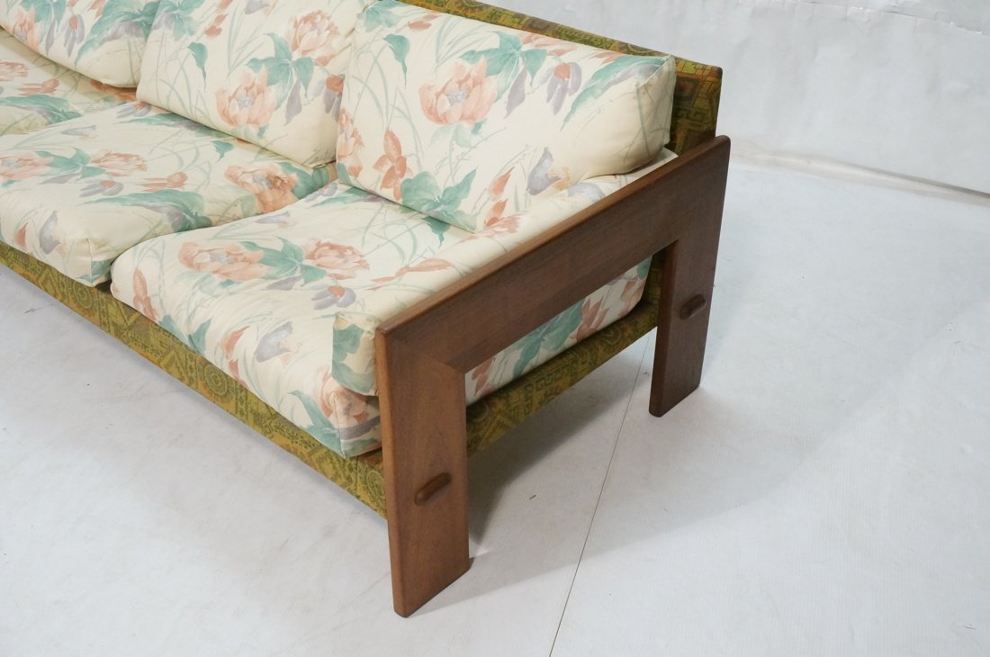 Tobia Scarpa Style Wide wood arm Sofa Couch. Back - 2