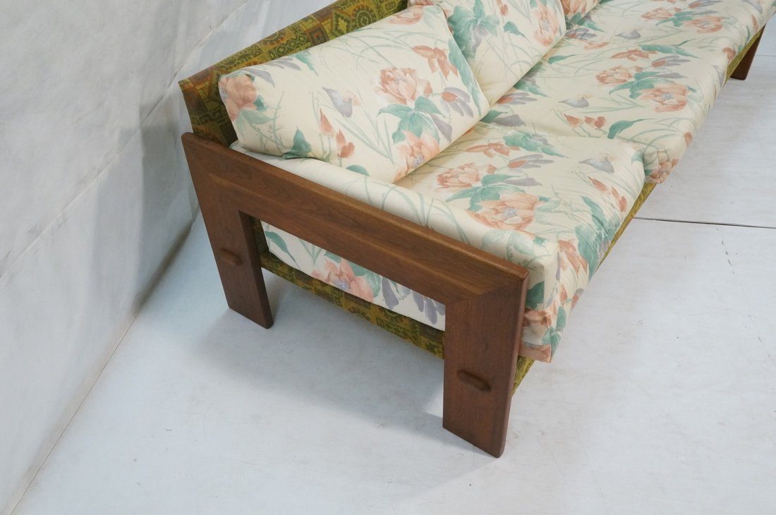 Tobia Scarpa Style Wide wood arm Sofa Couch. Back - 3