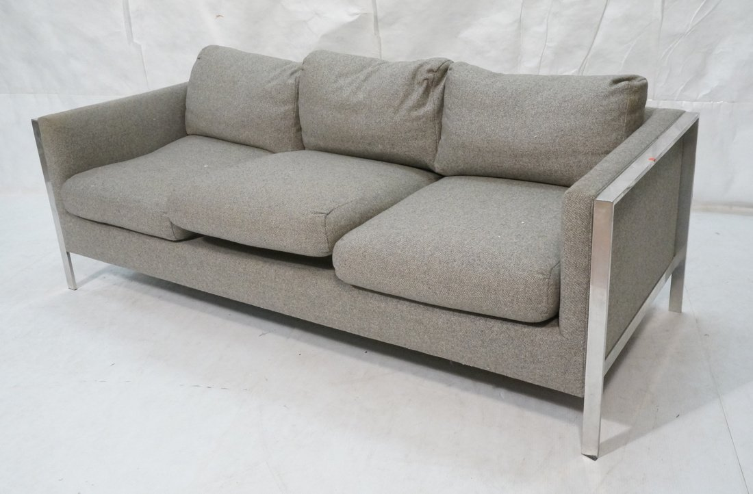 Chrome Frame Sofa Couch. Gray fabric upholstery.