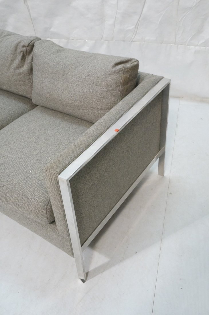 Chrome Frame Sofa Couch. Gray fabric upholstery. - 2