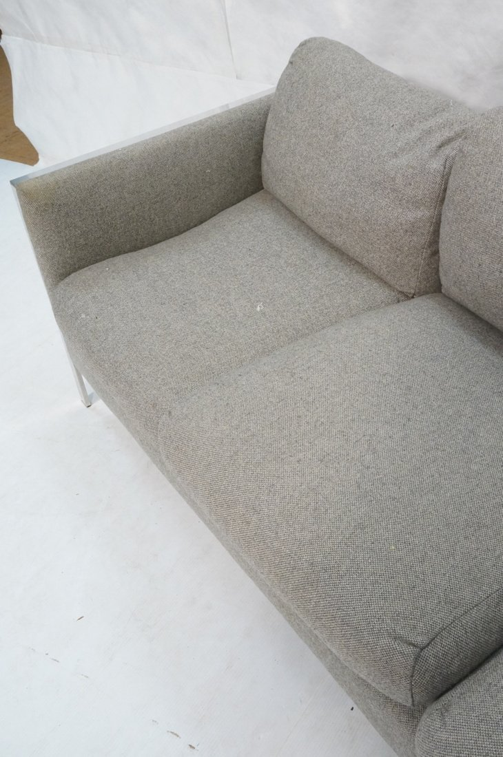Chrome Frame Sofa Couch. Gray fabric upholstery. - 3