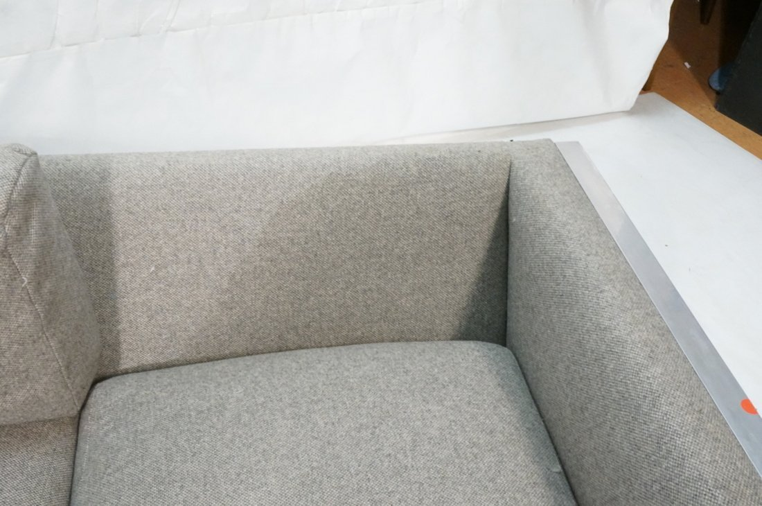 Chrome Frame Sofa Couch. Gray fabric upholstery. - 4
