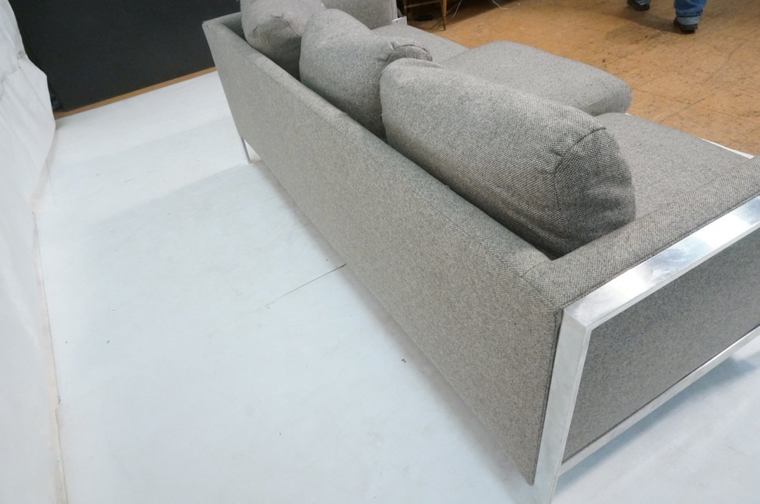 Chrome Frame Sofa Couch. Gray fabric upholstery. - 7