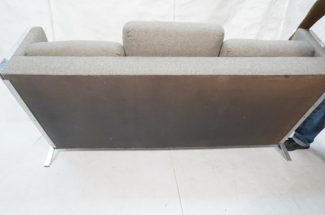 Chrome Frame Sofa Couch. Gray fabric upholstery. - 8