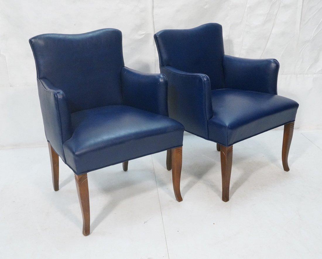 Pr LAWSONIA Blue Vinyl Arm Side Chairs. Mahogany