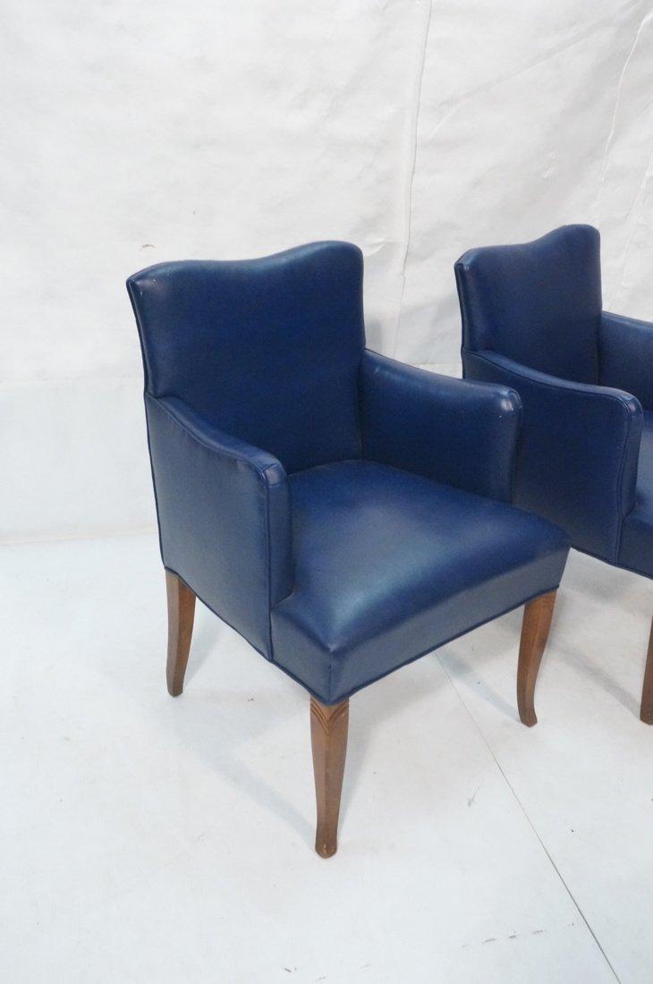 Pr LAWSONIA Blue Vinyl Arm Side Chairs. Mahogany - 2