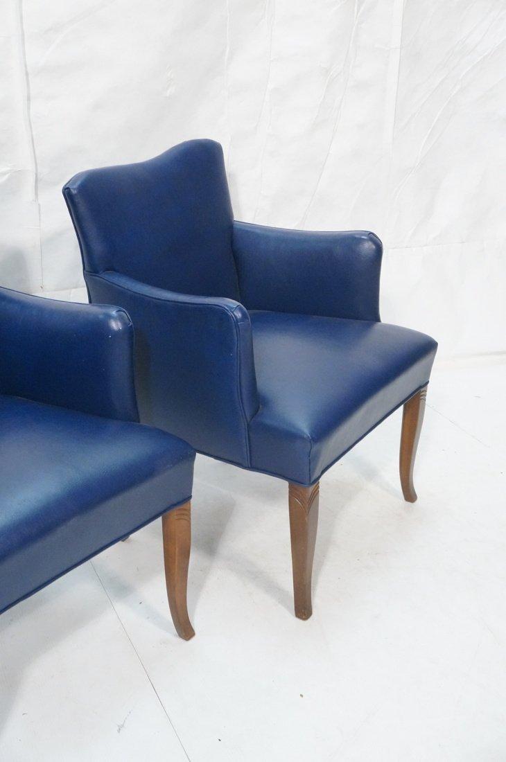 Pr LAWSONIA Blue Vinyl Arm Side Chairs. Mahogany - 3