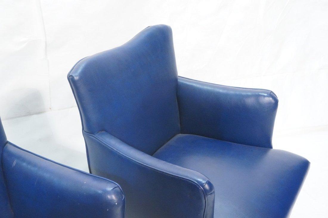 Pr LAWSONIA Blue Vinyl Arm Side Chairs. Mahogany - 5