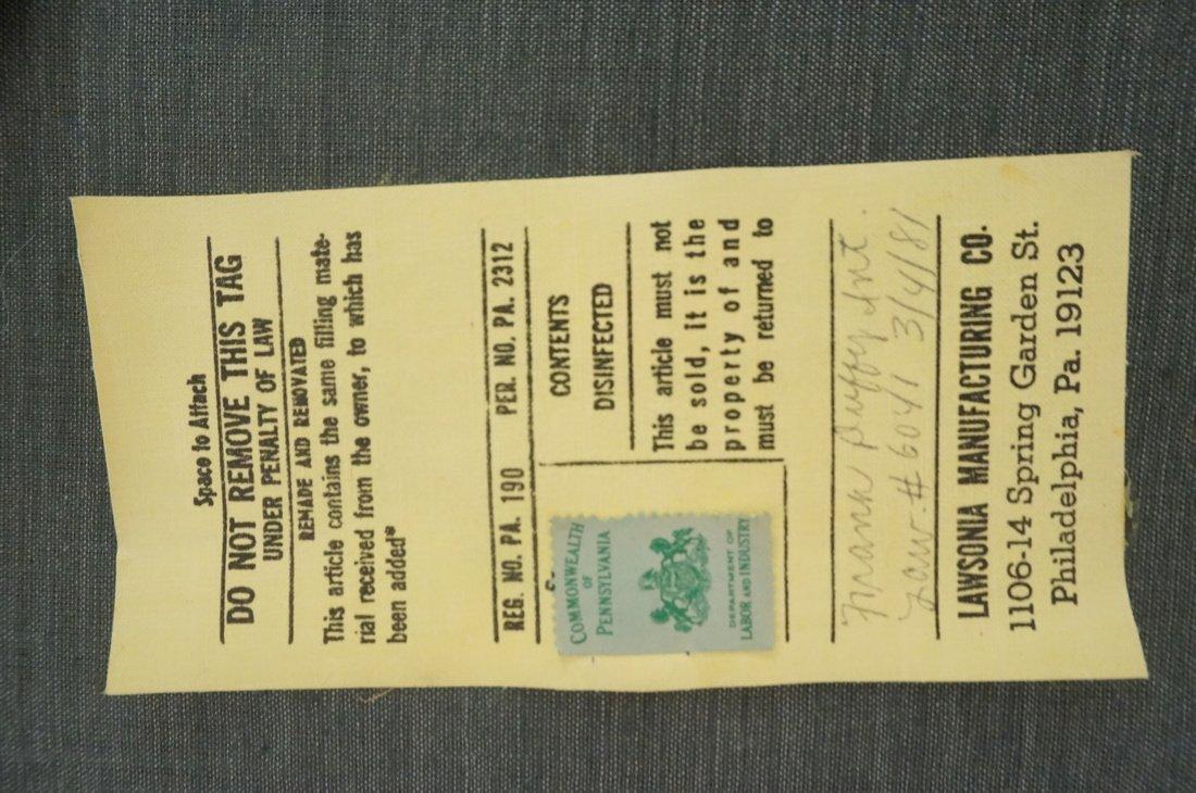Pr LAWSONIA Blue Vinyl Arm Side Chairs. Mahogany - 6
