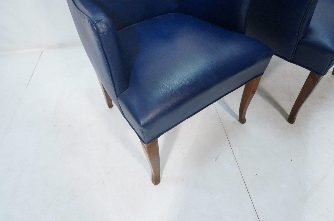 Pr LAWSONIA Blue Vinyl Arm Side Chairs. Mahogany - 7