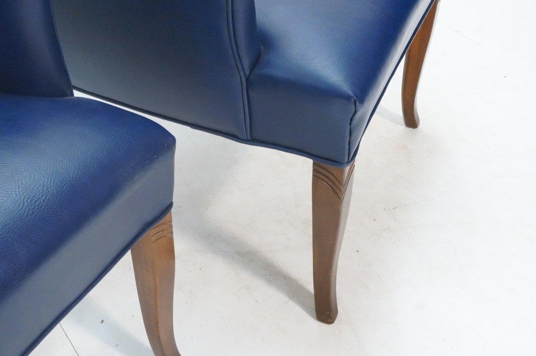 Pr LAWSONIA Blue Vinyl Arm Side Chairs. Mahogany - 8