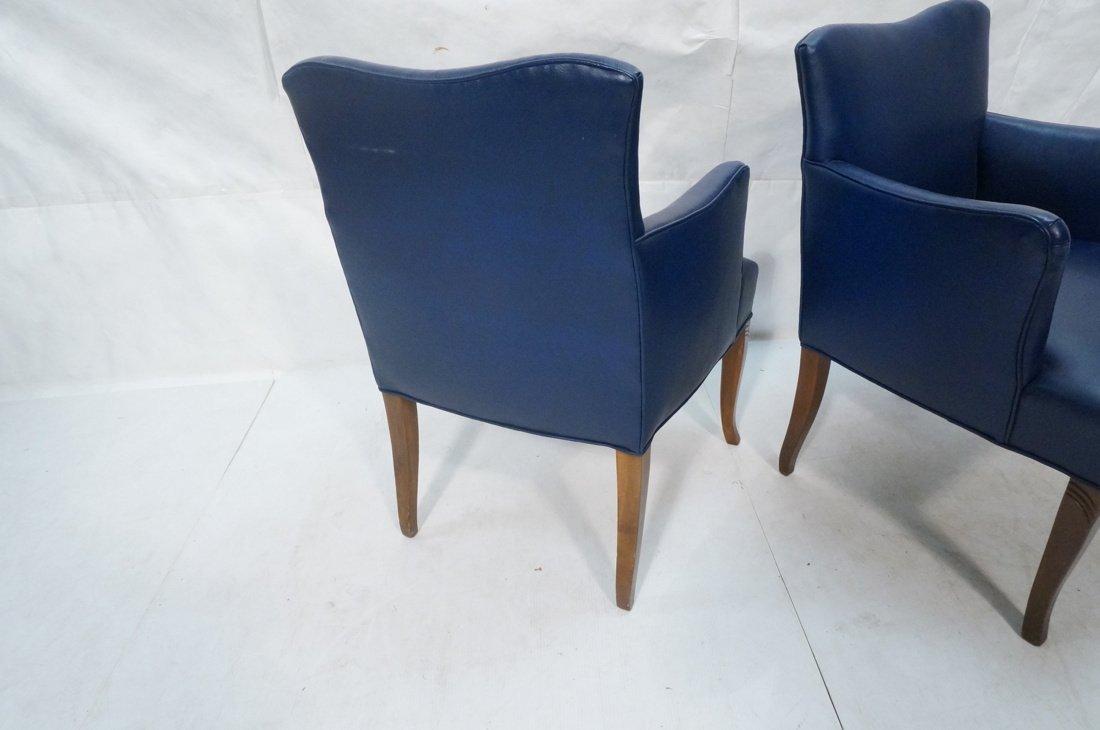 Pr LAWSONIA Blue Vinyl Arm Side Chairs. Mahogany - 9