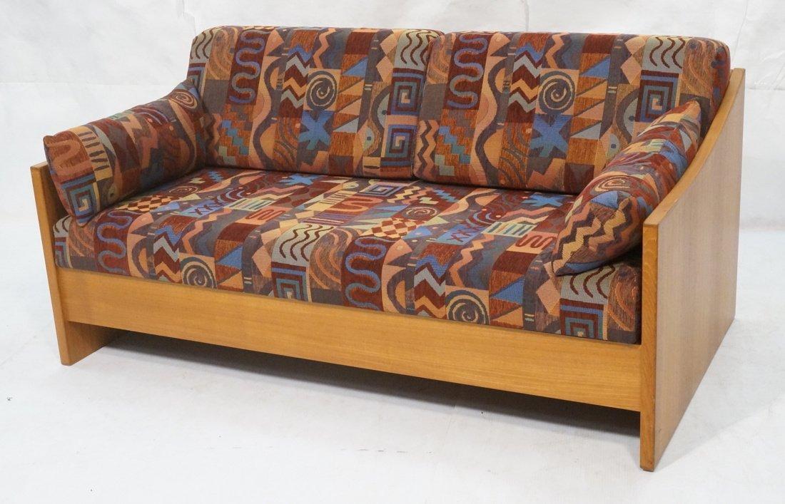 Teak Danish Modern Sofa Bed. Southwest fabric cus