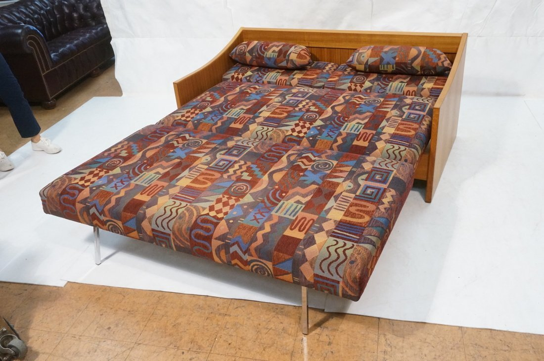 Teak Danish Modern Sofa Bed. Southwest fabric cus - 2