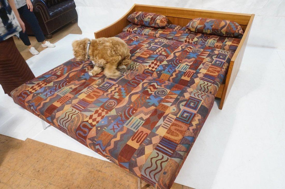 Teak Danish Modern Sofa Bed. Southwest fabric cus - 4