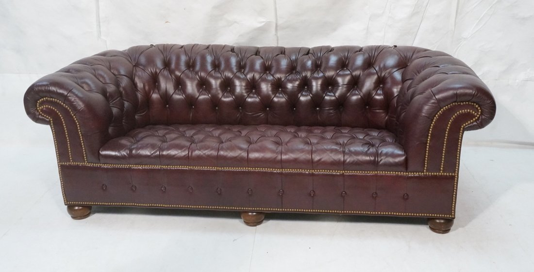 Burgundy Leather Chesterfield style Sofa Couch. N