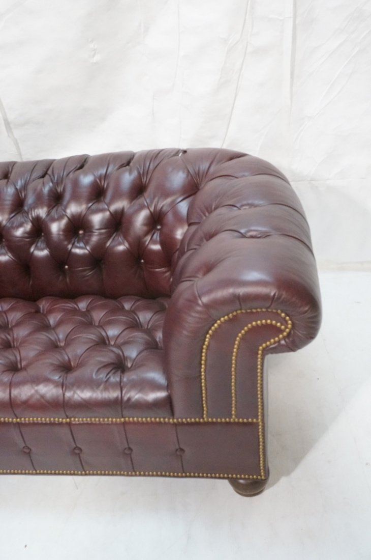 Burgundy Leather Chesterfield style Sofa Couch. N - 2