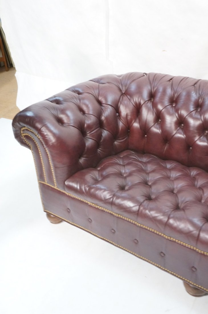 Burgundy Leather Chesterfield style Sofa Couch. N - 3