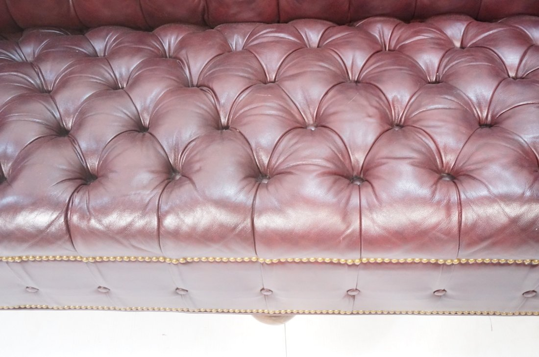 Burgundy Leather Chesterfield style Sofa Couch. N - 5