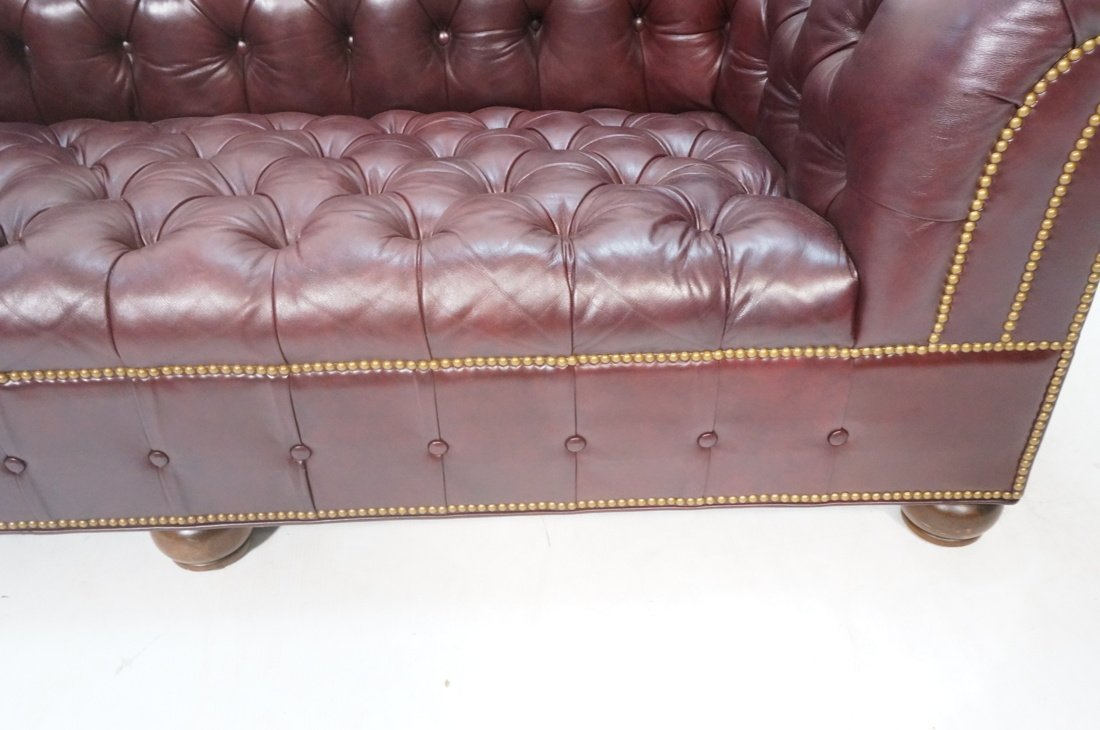 Burgundy Leather Chesterfield style Sofa Couch. N - 8