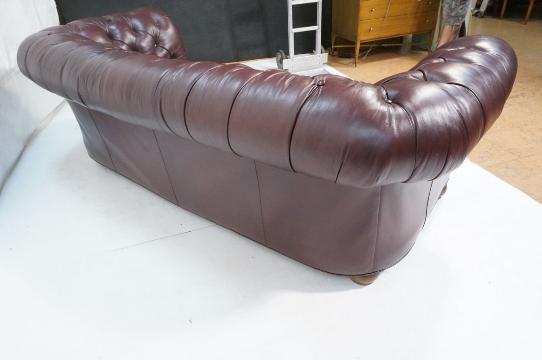 Burgundy Leather Chesterfield style Sofa Couch. N - 9