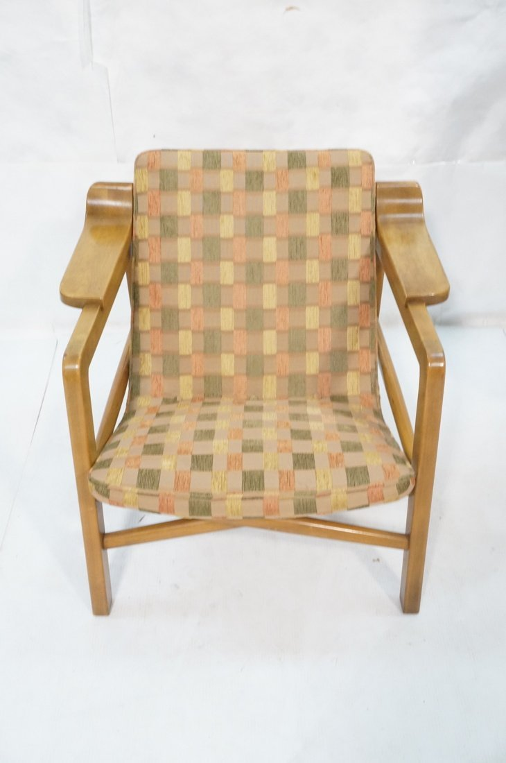Modern Lounge Chair. Wood frame with arm rests. F - 2