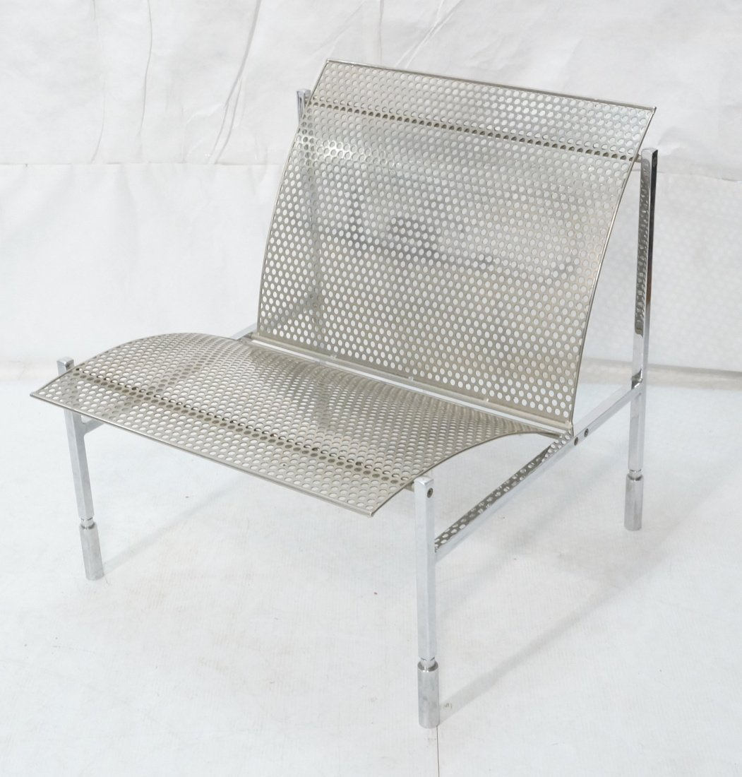 Industrial Metal Pierced Mesh Sheet Lounge Chair.