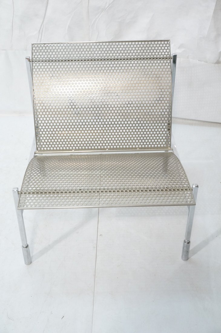 Industrial Metal Pierced Mesh Sheet Lounge Chair. - 2