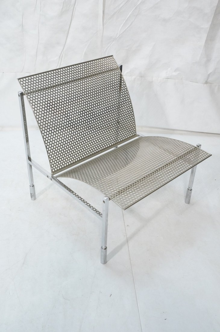 Industrial Metal Pierced Mesh Sheet Lounge Chair. - 3