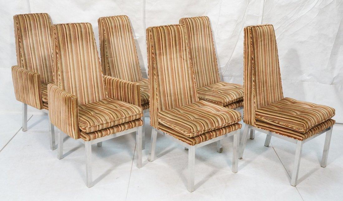 Set 6 Modern Dining Chairs. Aluminum square legs