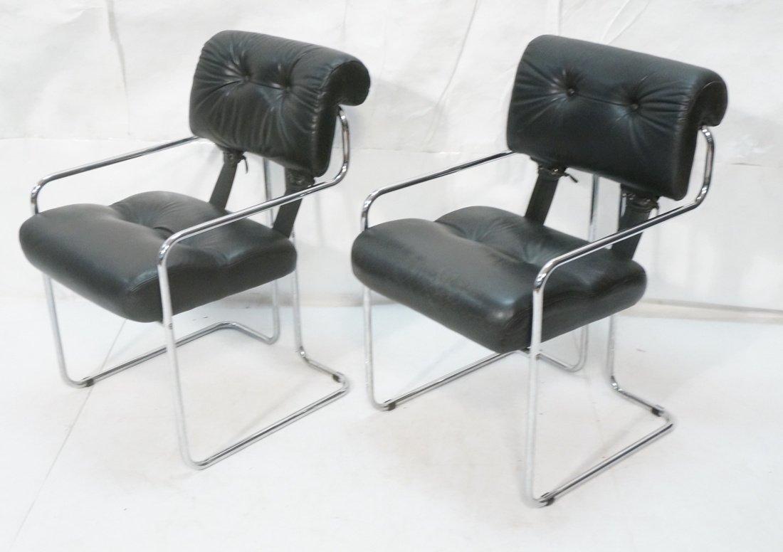 Pr Black Leather & Chrome MARANI Italy Lounge Cha