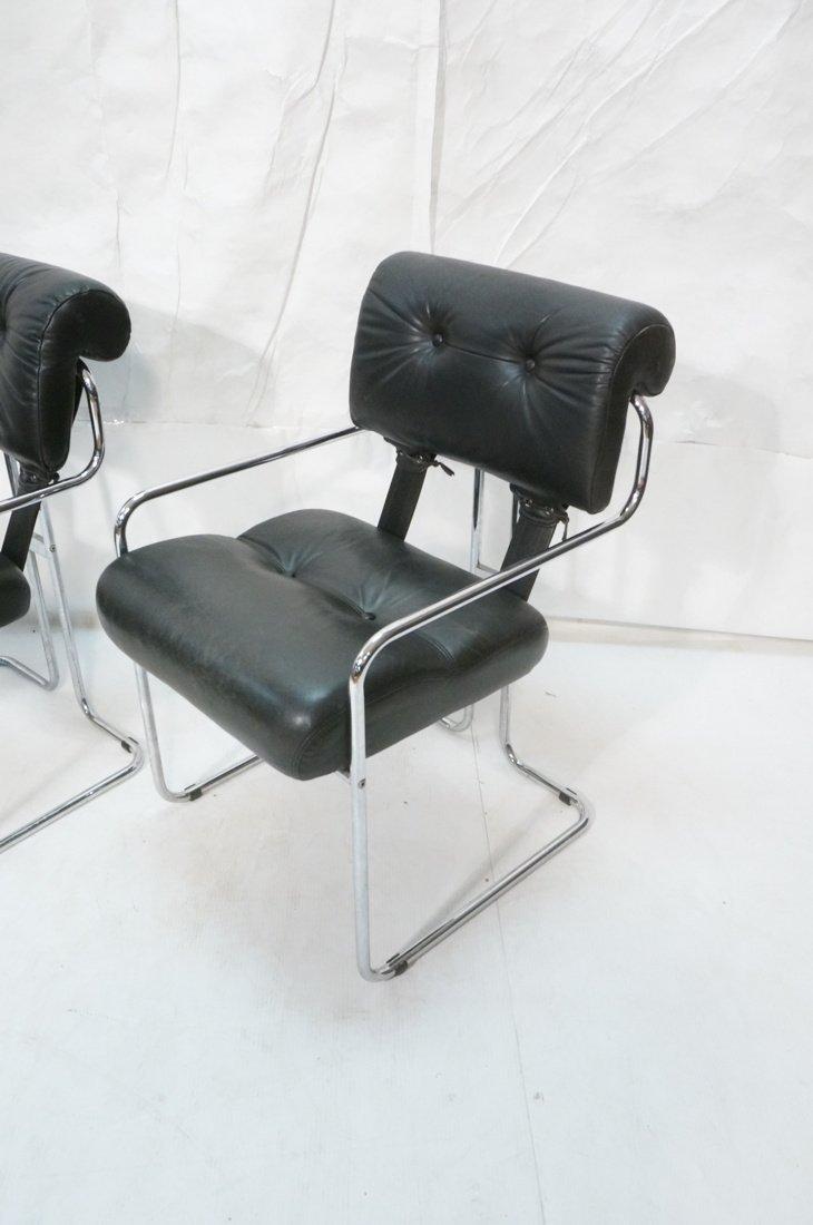 Pr Black Leather & Chrome MARANI Italy Lounge Cha - 2