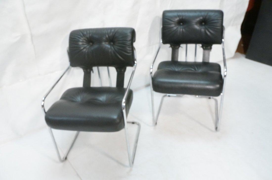Pr Black Leather & Chrome MARANI Italy Lounge Cha - 3