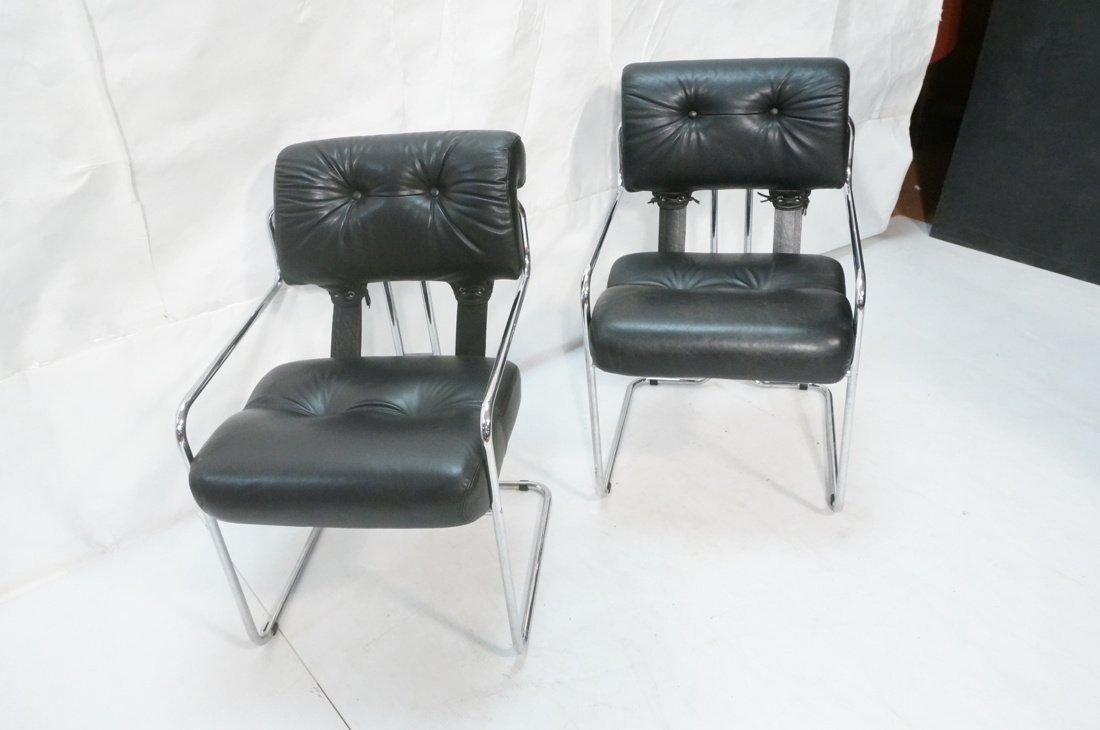 Pr Black Leather & Chrome MARANI Italy Lounge Cha - 4