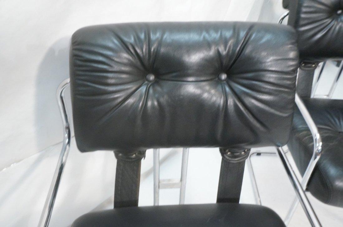 Pr Black Leather & Chrome MARANI Italy Lounge Cha - 5
