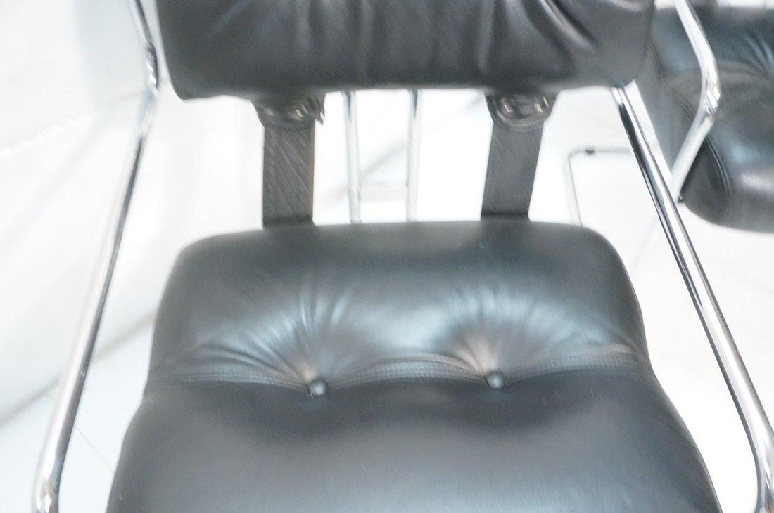 Pr Black Leather & Chrome MARANI Italy Lounge Cha - 7
