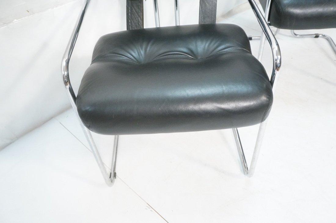 Pr Black Leather & Chrome MARANI Italy Lounge Cha - 8