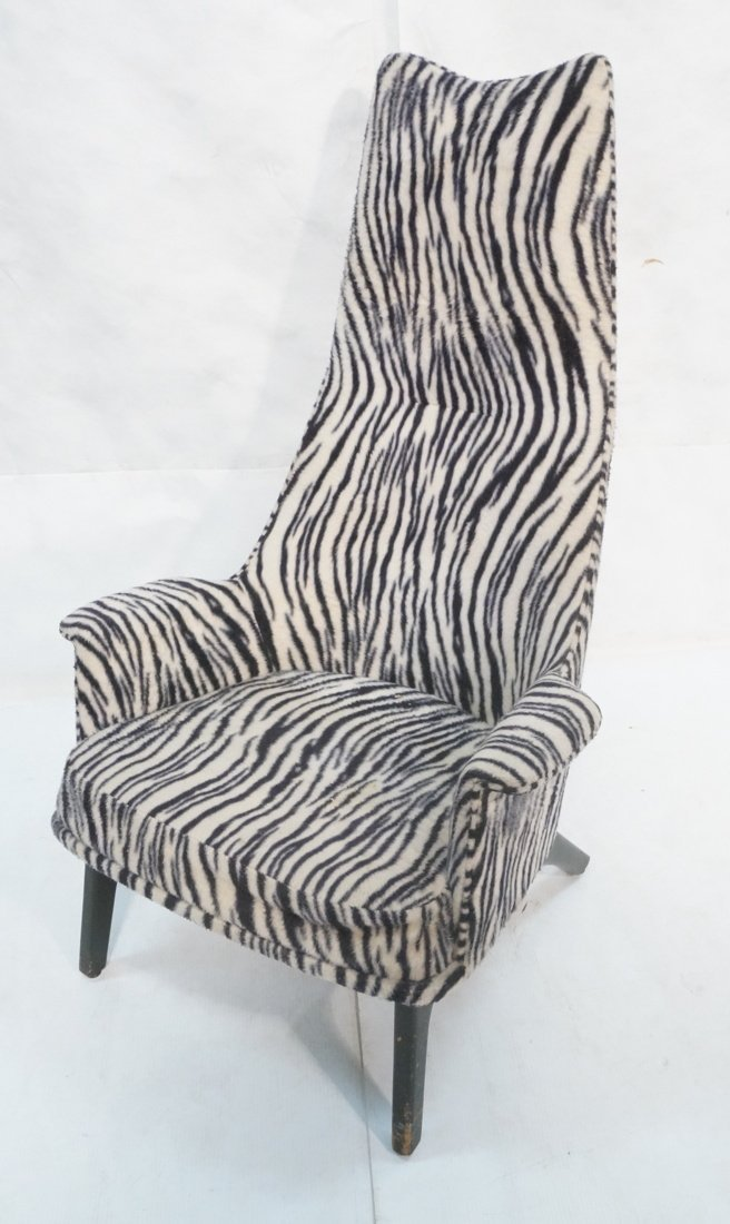 Adrian Pearsall Tall Back Plush Zebra Ebonized Lo