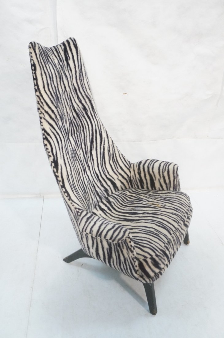 Adrian Pearsall Tall Back Plush Zebra Ebonized Lo - 3