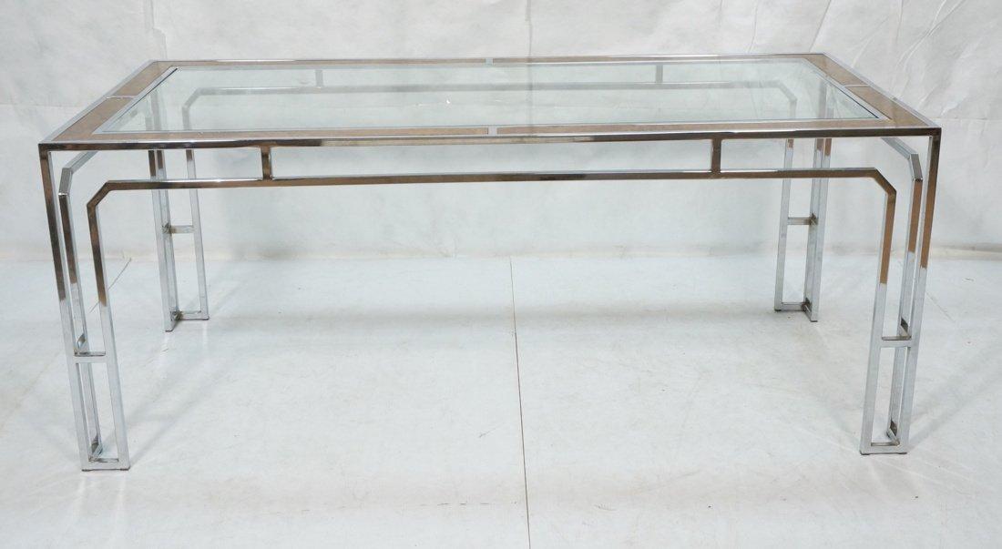 Milo Baughman style Burl Wood Chrome Dining Table