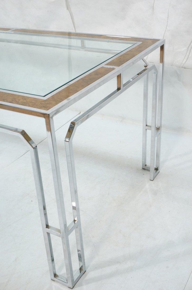 Milo Baughman style Burl Wood Chrome Dining Table - 2
