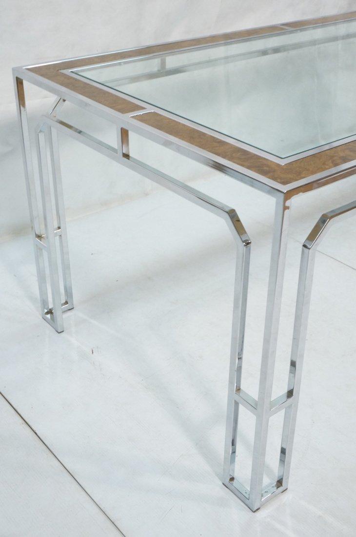 Milo Baughman style Burl Wood Chrome Dining Table - 3