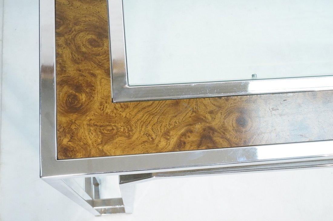 Milo Baughman style Burl Wood Chrome Dining Table - 4