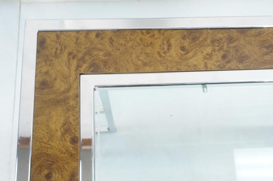 Milo Baughman style Burl Wood Chrome Dining Table - 5